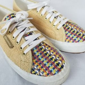 Superga COTU sneaker sz 9 raffia Multicolored